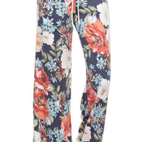 Lazy Day Floral Lounge Pants - Blue (Ships 10/17)