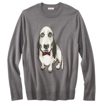 Merona® Men's Pullover Basset Hound Sweater - Rock Garden Gray