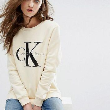 PEAPON Calvin Klein Long Sleeve Pullover Sweatshirt Top Sweater Hoodie