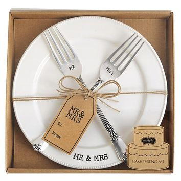Mud Pie Mr & Mrs Plate & Fork Set