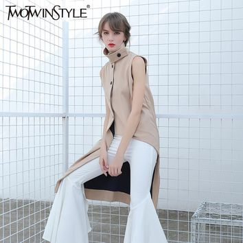 TWOTWINSTYLE Female Vest Sleeveless Cardigan Long Coat Jacket for Women Asymmetrical Clothes Korean Fashion Summer