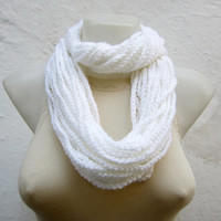 Crochet Scarf infinity -White-  Necklace Long Winter Accessories-chain loop scarf