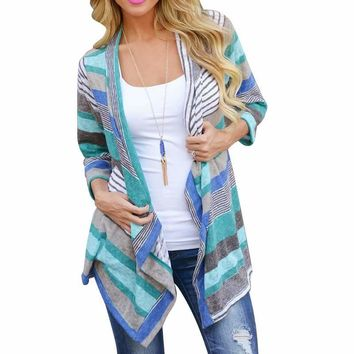 OB Women's Boho Style Striped Long Sleeve Cardigan