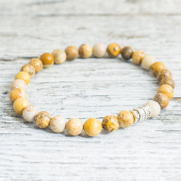 Brown jasper stone beaded stretchy bracelet, custom made mens bracelet, womens bracelet, mens bracelet