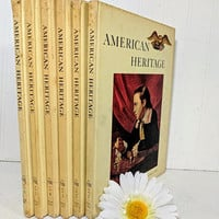 American Heritage Complete 6 Books Set of Vol. VIII Dec 1956 through Oct 1957 American Heritage Hard Cover Magazines One Full Year Books Set