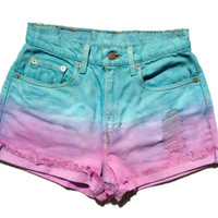 Ombre Levi's High Waisted Cut Off Shorts