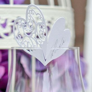Laser Expressions Double Heart Filigree Die Cut Card Standard Paper Lavender (Pack of 12)