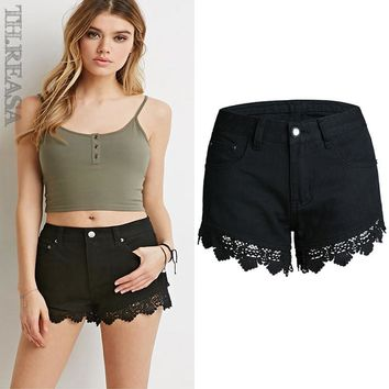 Lace Shorts Hollow Out Slim Pants Patchwork Jeans [11597531983]