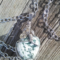 Tree Agate Crystal Necklace, Tree agate Jewelry, Beaded Necklace, Gypsy Necklace, Heart Chakra Jewelry, Boho Necklace, Crystal Jewelry