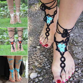 Pair Summer Barefoot Sandals Crochet Jewelry Cotton Bracelet Foot Ankle Anklet