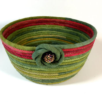 Coiled Rope Basket Clothesline -Hand Dyed Rich Green & Red - Upcycled Planter -Fiber Art Organizer -Sophsticated Holiday Decor -Fabric Bowl