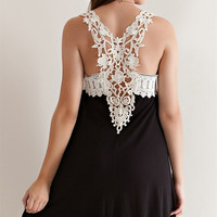 Crochet Lace Jersey Dress - Black