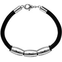 Inox Jewelry Men's 316L Stainless Steel Beads Leather Cord Bracelet