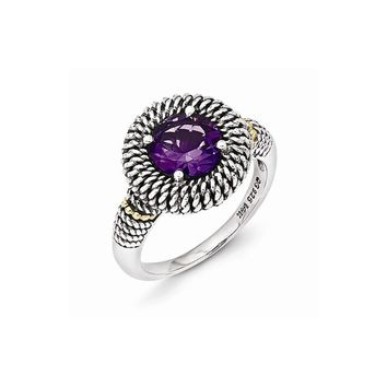 Sterling Silver w/14k Gold Antiqued Amethyst Ring