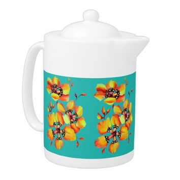 Elegant Orange Flowers - Aqua Teapot