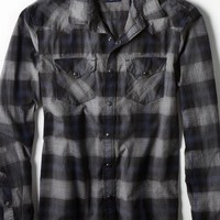 AEO Men's Plaid Western Shirt (Grey)