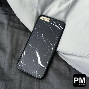 Black Marble Case Cover for Apple iPhone 4 4s 5 5s 5c 6 6s SE Plus & iPod Touch