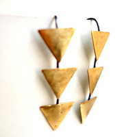 Floating Brass Triangle Dangles