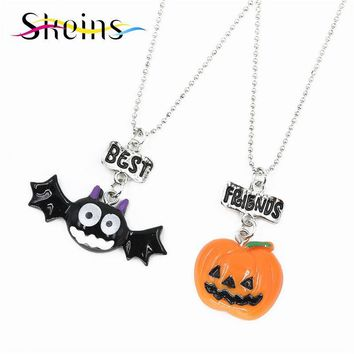 BFF Cartoon Halloween Party Jewelry 2pcs/Set Best Friends Charms Bat  Pumpkin Monster Pendants friendship Kids Necklace Set