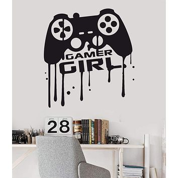 Vinyl Wall Decal Girl Gamer Video Game Teen Game Room Joystick Stickers Unique Gift (689ig)