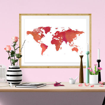 World Map Watercolor Print, instant download, Watercolor poster, digital poster, poster, affiche, world map, Fower Design, home Decor
