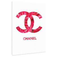 White and hot Pink Camelias Chanel logo Canvas - Wall Art - Print Poster - Modern Decor - fashion decor - Chanel logo - flowers chanel