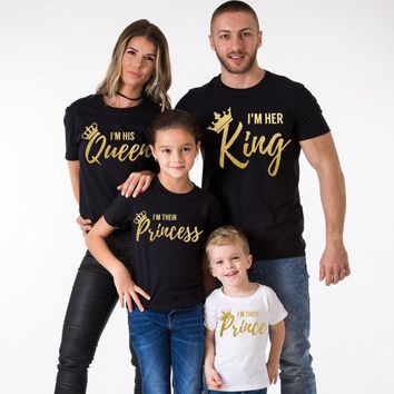 new Summer Family Matching Outfits Short-sleeve T-shirt Family Look gold Letter T-shirt Her King his Queen their Princess prince