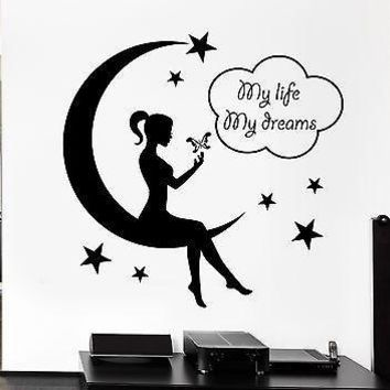Wall Decal Teen Girl Fairy Moon Star Dreams Bedroom Decor Vinyl Stickers Unique Gift ig2571