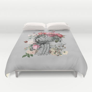 Beautiful Brain Duvet Cover or comforter - Anatomical illustration, floral, unique bedroom linens, retro gray, depression, anxiety, OCD