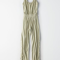 Don't Ask Why Side Snap Jumpsuit, Dusty Sage