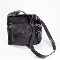 Leather Messenger Bag  1990s FOSSIL Medium Size Black Purse Carryall Tote