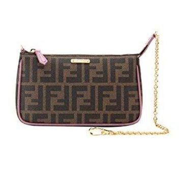 DCCK6N8 Fendi Woman's Brown Zucca Handbag Clutch