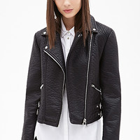 Zippered Faux Leather Moto Jacket