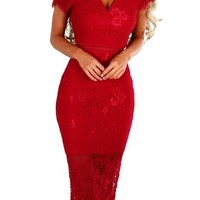 Red Lace Bardot Party Midi Dress