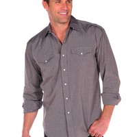 Stetson End on End Shirt with Snaps and 2 Pockets in Brown - Brown