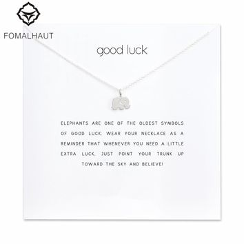 Sparkling good lucky elephant Pendant necklace Clavicle Chains Statement Necklace Women FOMALHAUT Jewelry F-01