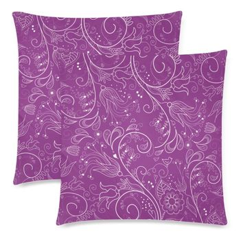 """Plum Floral Throw Pillow Covers 18""""x 18"""" (Set of 2)"""