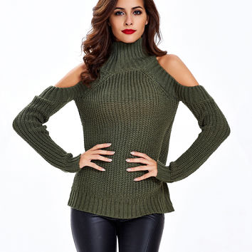 Army Green High Neck Cold Shoulder Ribbed Knit Sweater