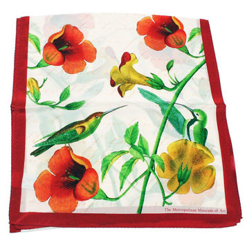 Vintage Silk Scarf Trumpet Vine Hummingbird The Metropolitan Museum of Art Flowers Birds Colibri Multicolor Wrap