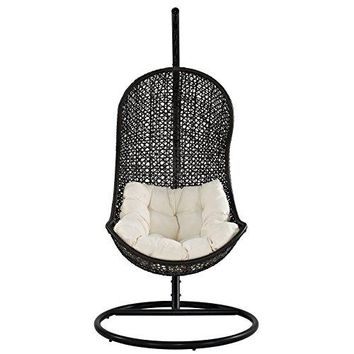 LexMod The Parlay Rattan Outdoor Wicker Patio Swing Chair Set