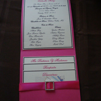 50 Hot Pink Pocketfold with Square Rhinestone Buckle - wedding - 15th, 16th, 18th, 21st, 30th, 40th, 50th, 60th, Wedding