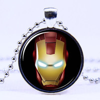 Art Pendant necklace- Iron man necklace,Silvery necklace,Antique necklace, Superhero  necklace