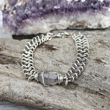 Quartz Crystal Bracelet - Raw Quartz Jewelry - Gift Idea - Bridal Jewelry - Bridesmaid Gift - Bohemian Jewelry - Festival Style - Boho Chic