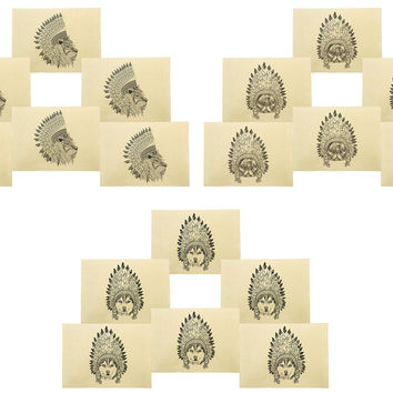 Animals wear headdress Printed Canvas Placemats Set of 6