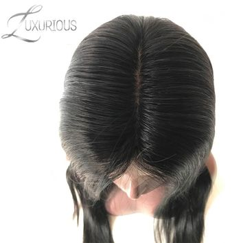 150% Density Silk Base Full Lace Wigs Straight Natural Color Brazilian Remy Human Hair For Black Women