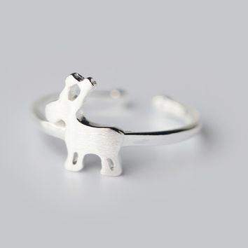 Personalized little elk 925 sterling silver opening ring,a perfect gift