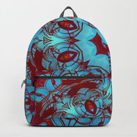 mandala 6 blue red #mandala Backpacks by Lionmixart