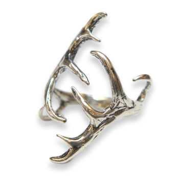Silver Elk Antler Ring -Sterling Overlay on Solid White Bronze by Moon Raven Designs 257
