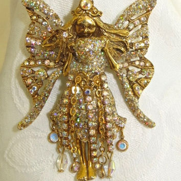 Kirks Folly Crystal Fairy Godmother Brooch Pendant Retired