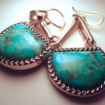 Turquoise Bronze & Sterling BARSE Earrings, Dangle, Vintage